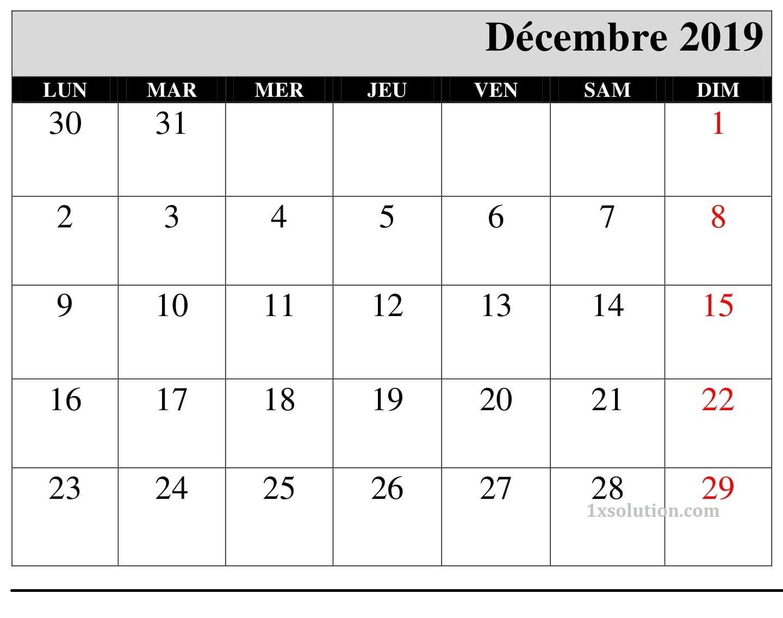 Calendrier Modele Décembre 2019 PDF