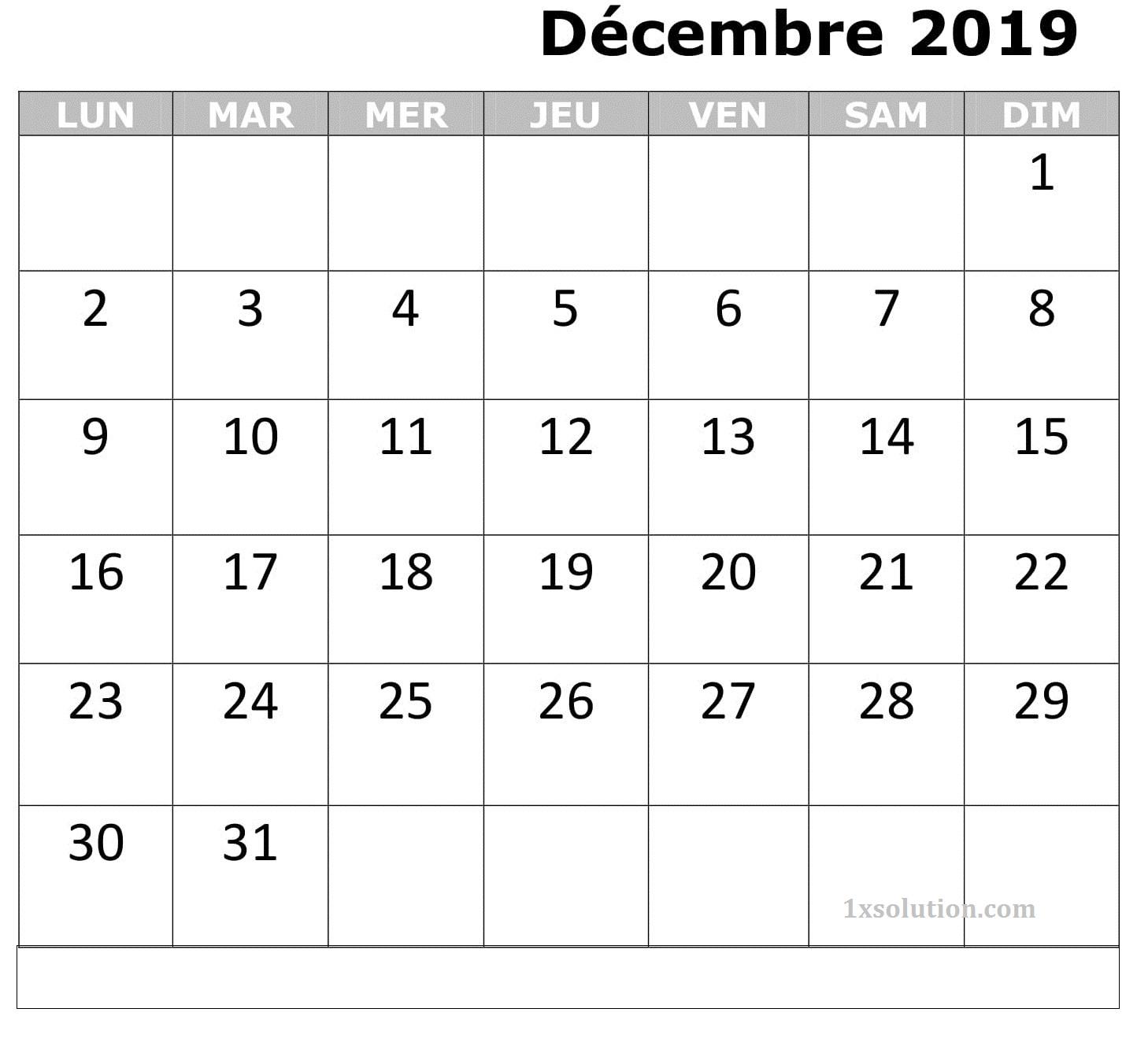 Calendrier Mois Décembre 2019 PDF
