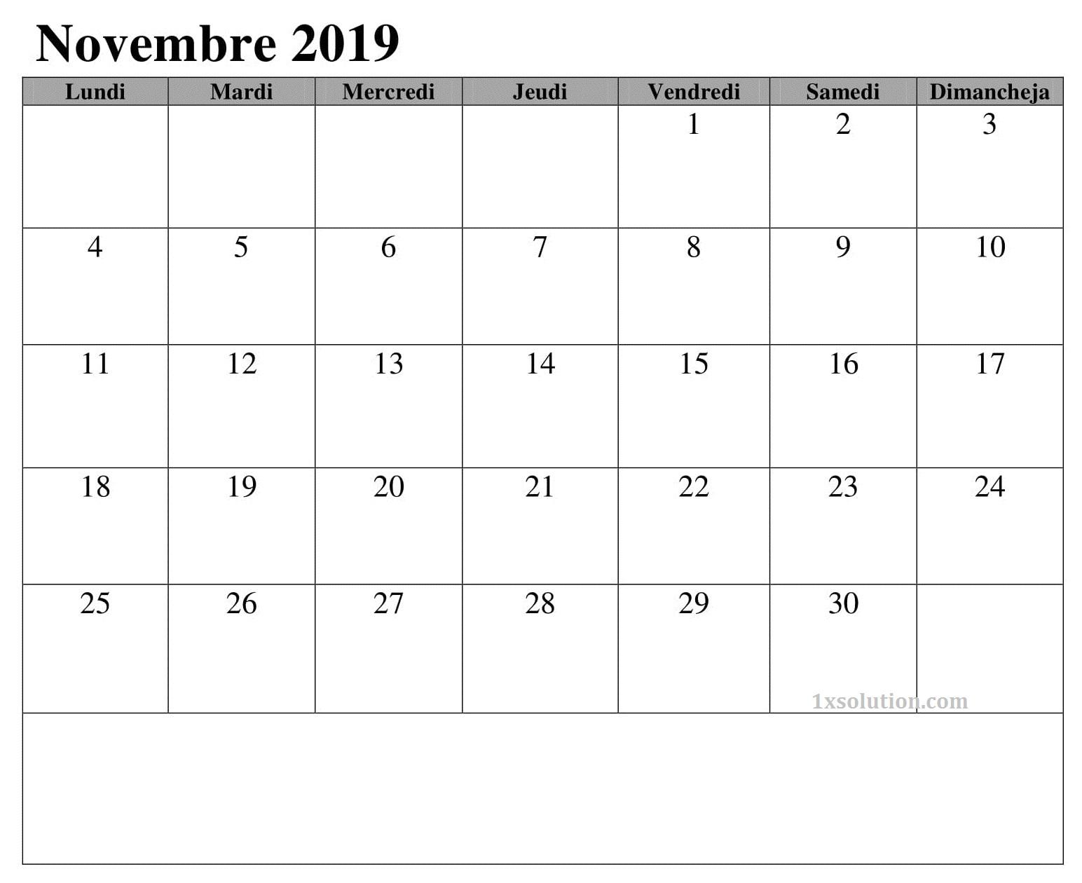 Calendrier Novembre 2019 A Imprimer