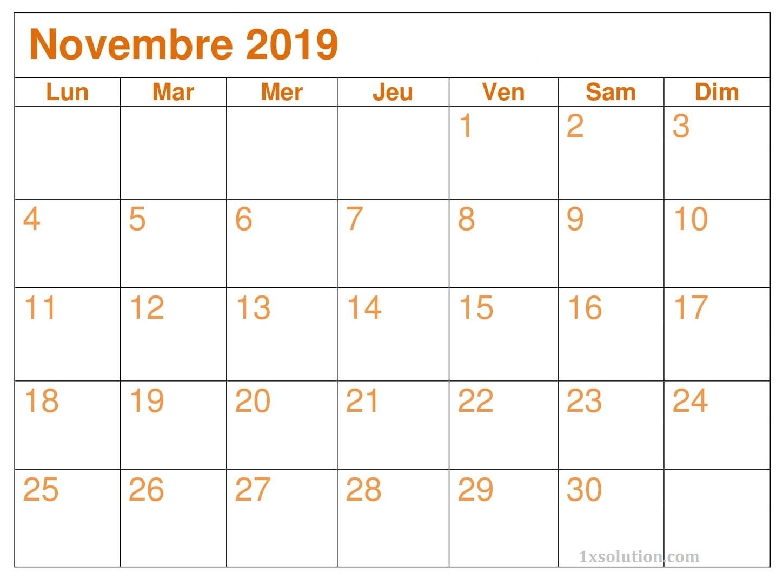 Calendrier Novembre 2019 A Imprimer PDF