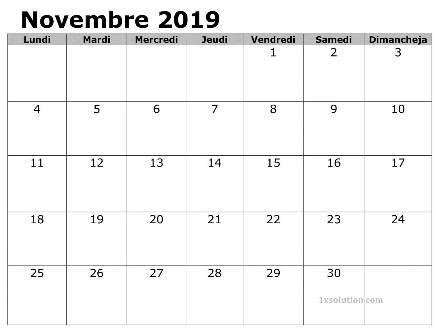 Calendrier Novembre 2019 A Imprimer Table