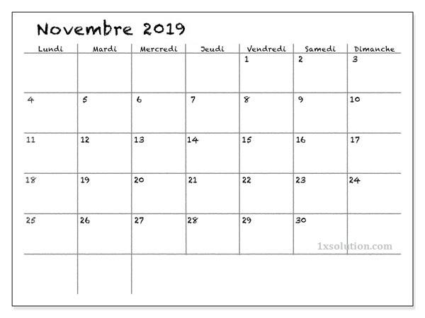 Calendrier Novembre 2019 Blanc
