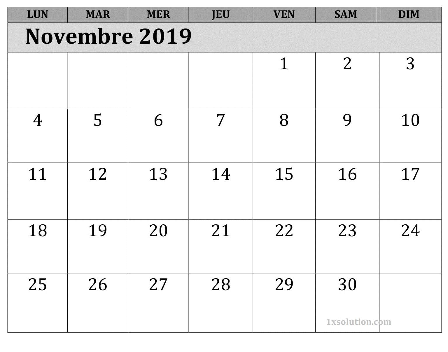 Calendrier Novembre 2019 PDF Blanc