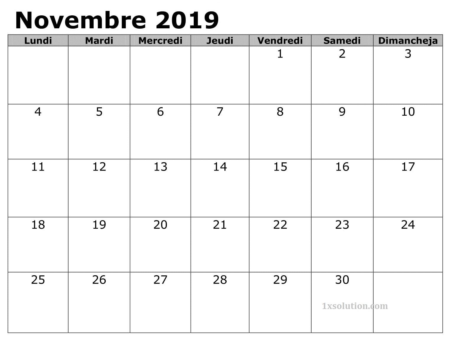 Calendrier Novembre 2019 PDF Document