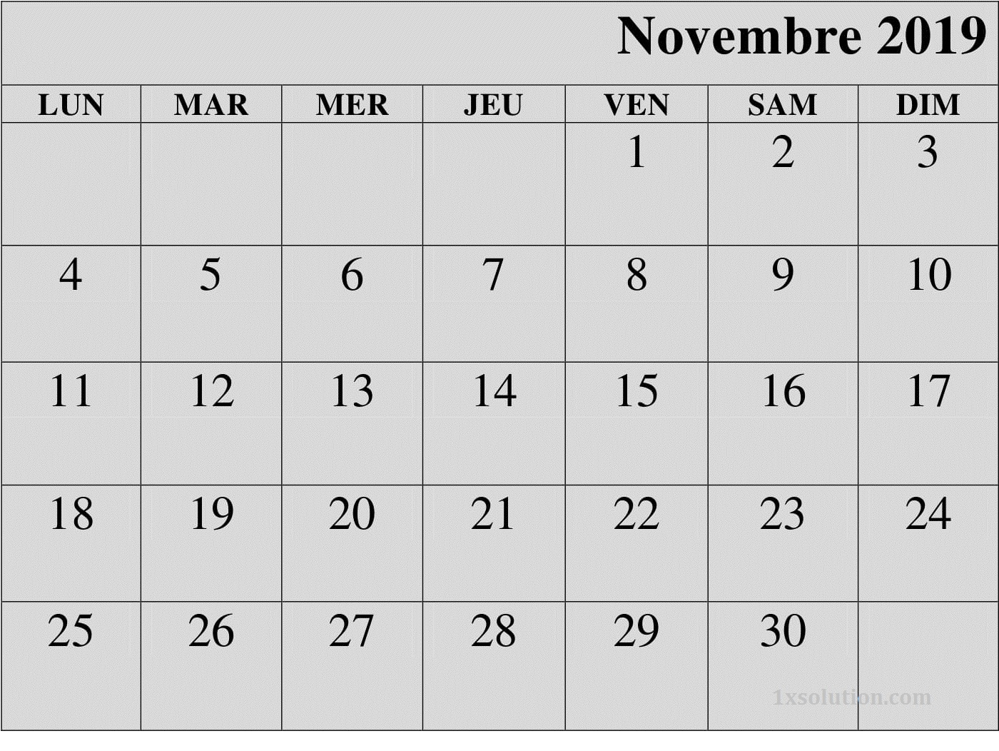 Calendrier Novembre 2019 PDF Editable