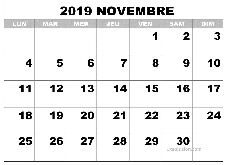 Calendrier Novembre 2019 PDF Modele
