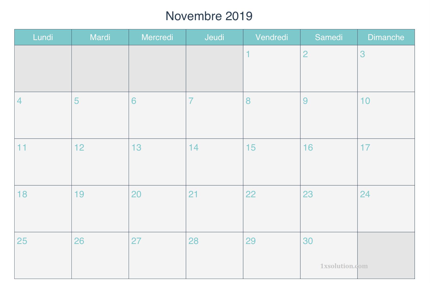 Calendrier Novembre 2019 Table