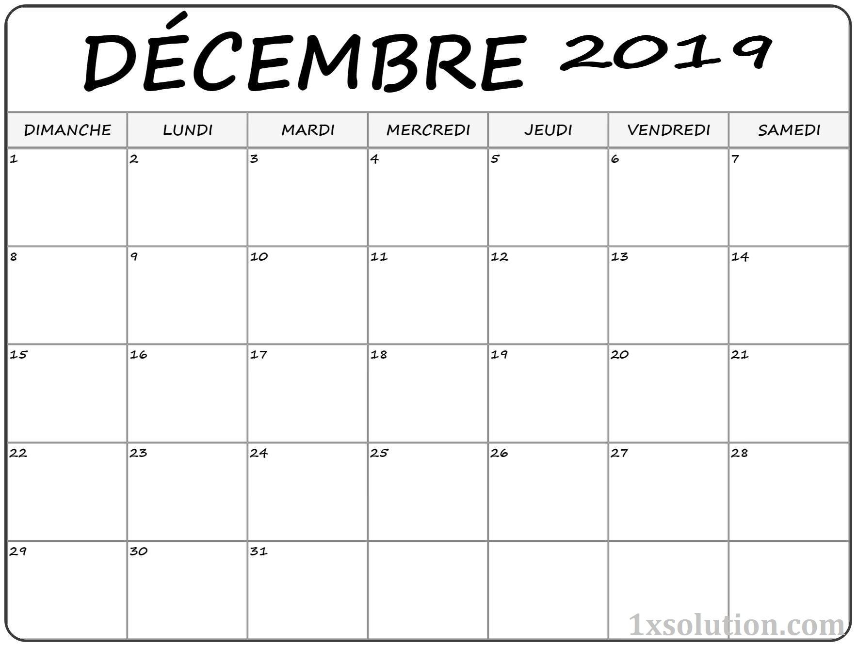 Decembre Calendrier 2019 Excel
