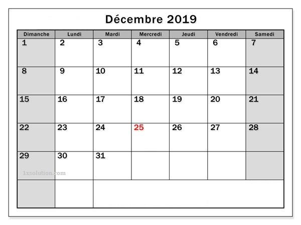 Décembre Calendrier 2019 Gratuit