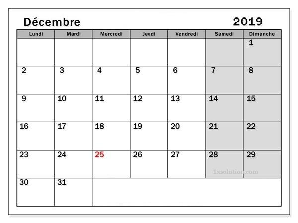 Décembre Calendrier 2019