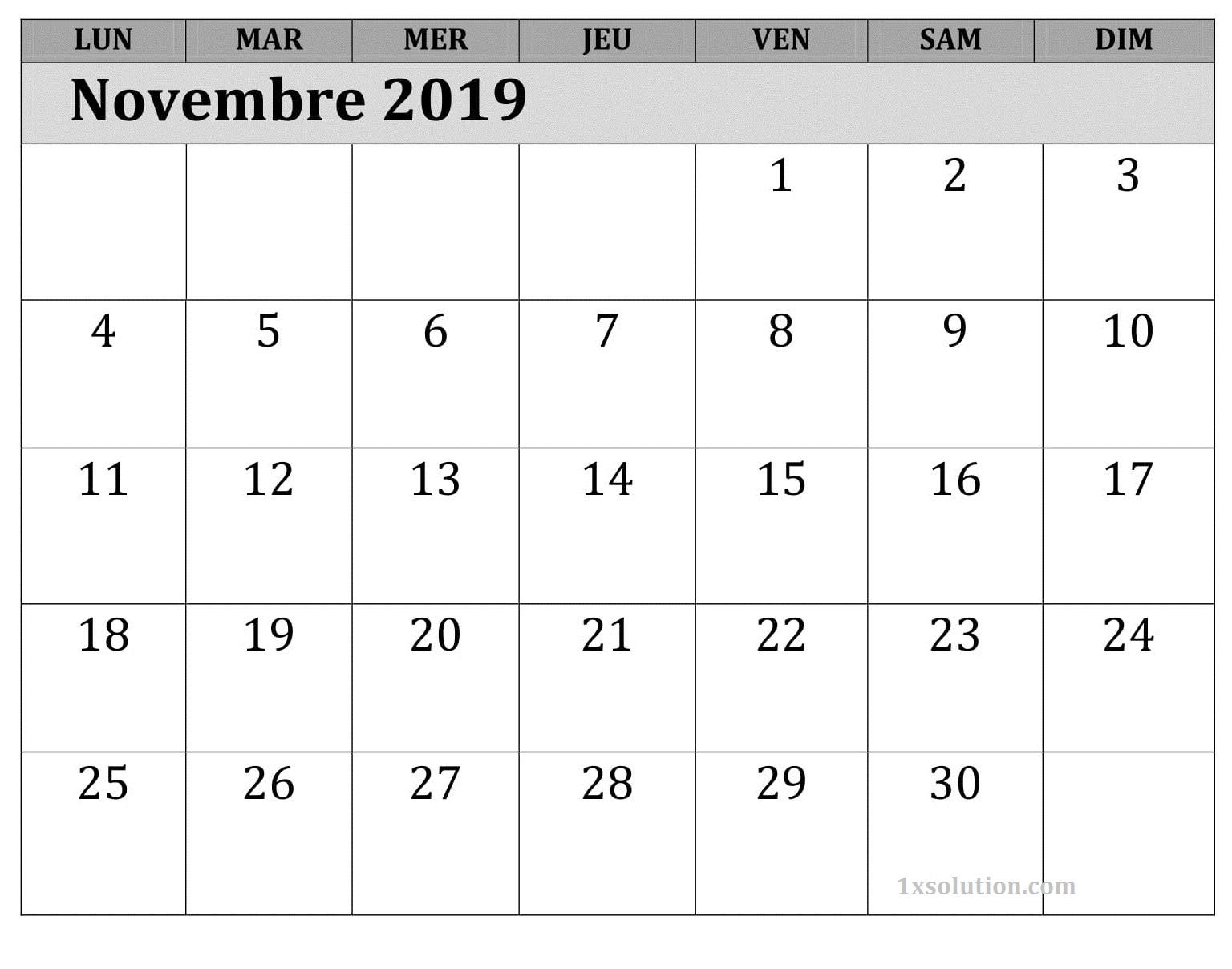 Excel Novembre Calendrier 2019