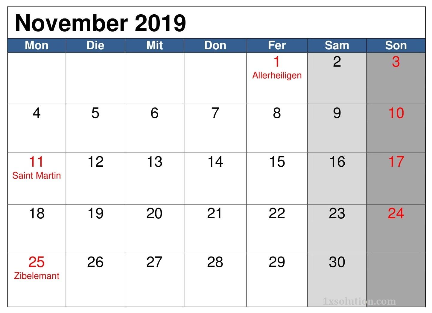 Frei Kalender November 2019 Mit Feiertagen