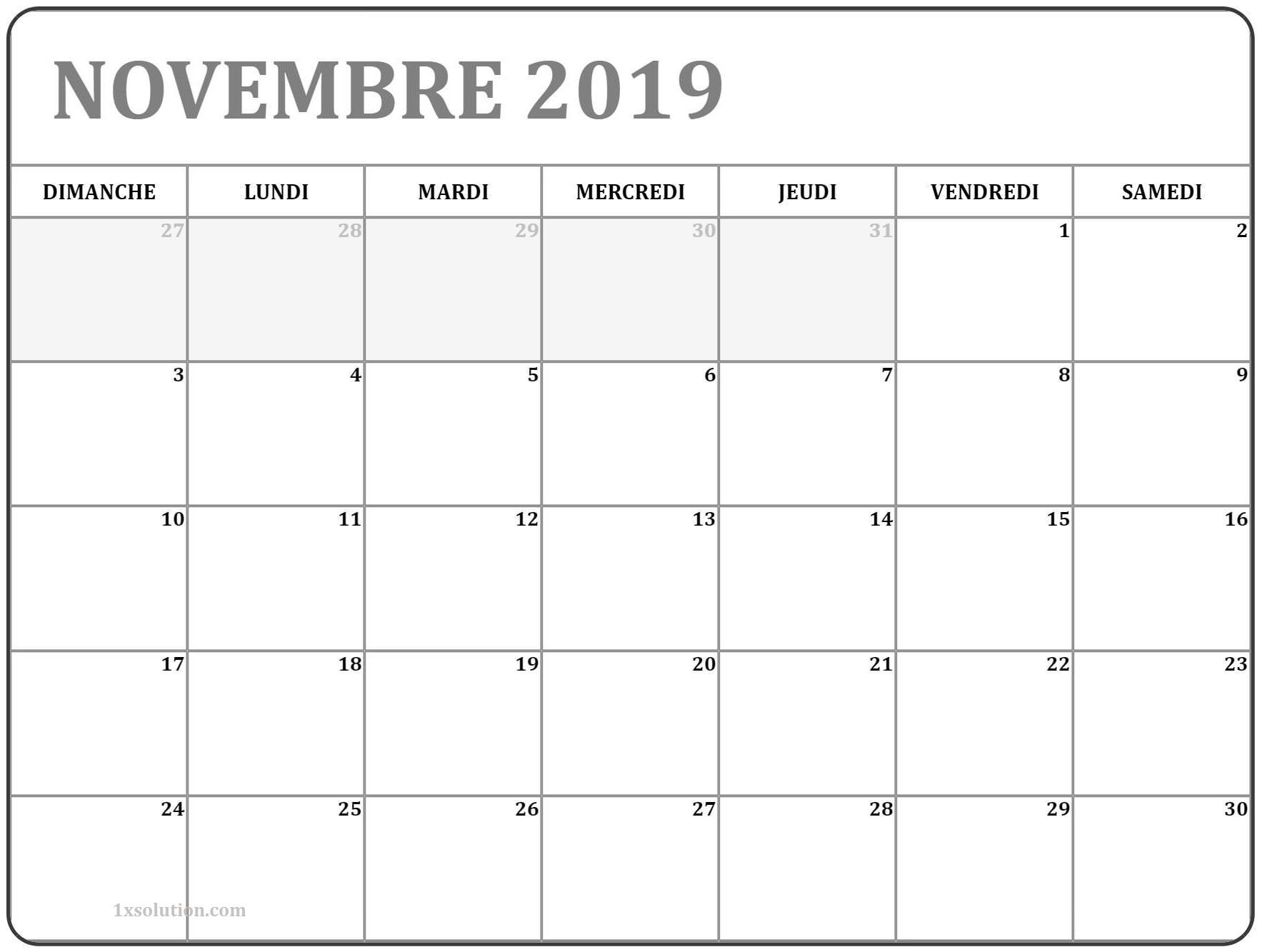 imprimable Calendrier Novembre 2019