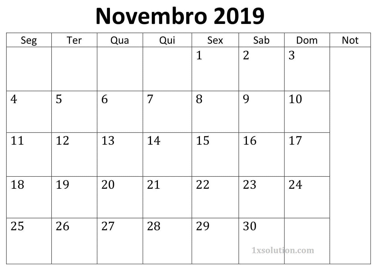 Imprimivel Calendário Novembro 2019