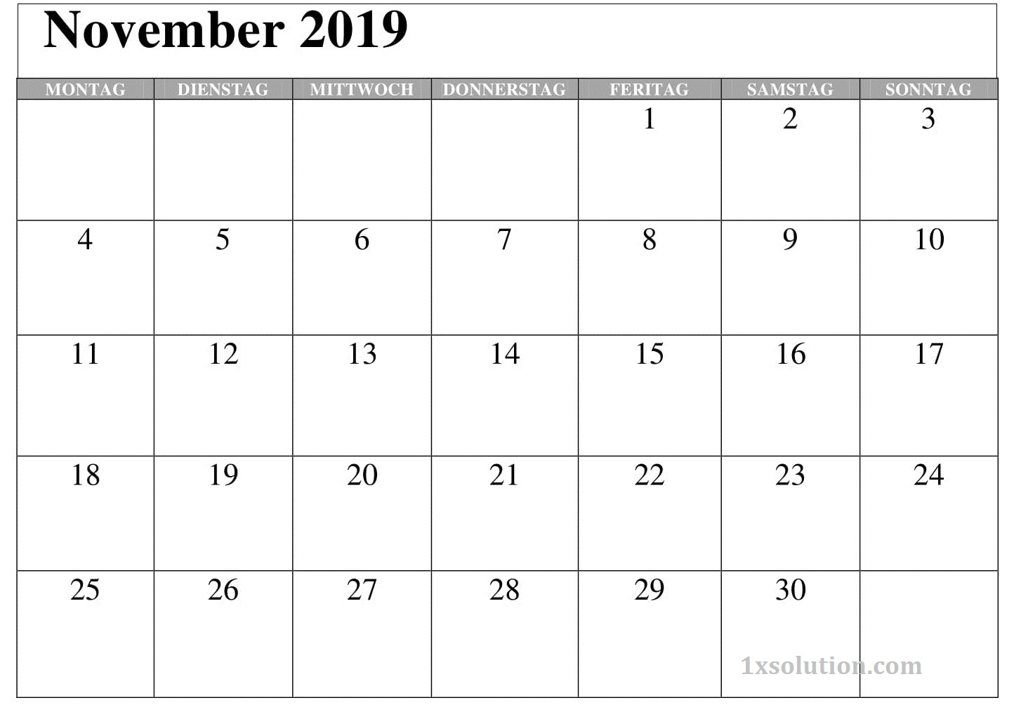 Kalender 2019 November