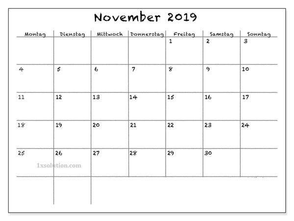 Kalender 2019 November Schwarzweib
