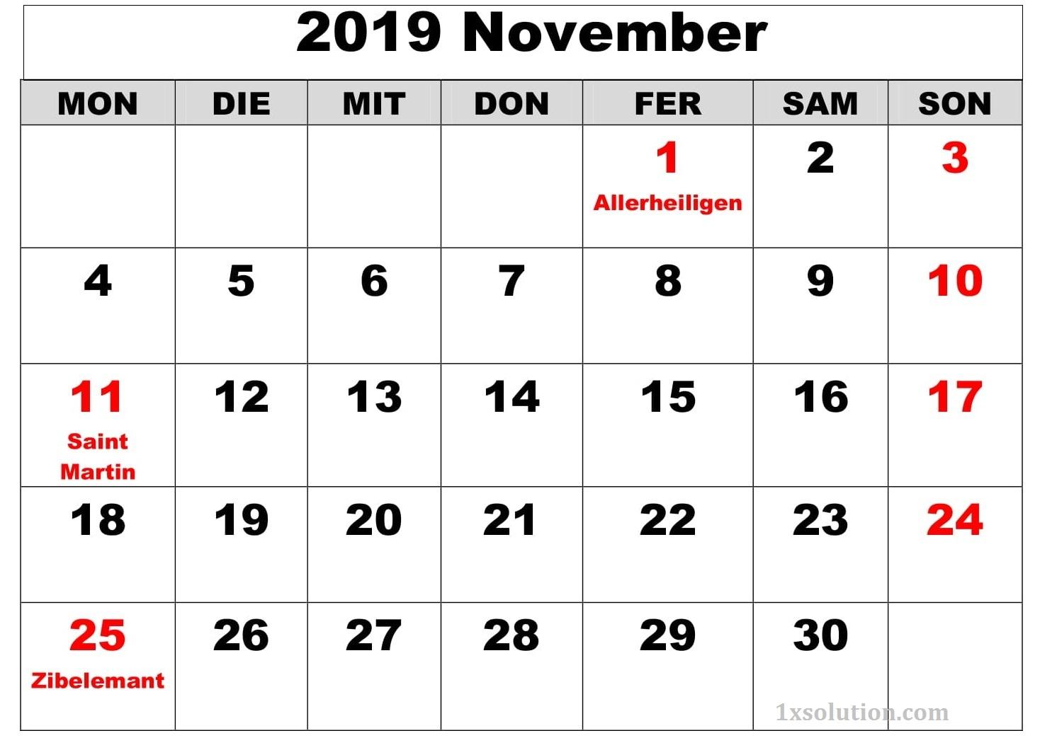 Kalender Bild November 2019 Mit Feiertagen