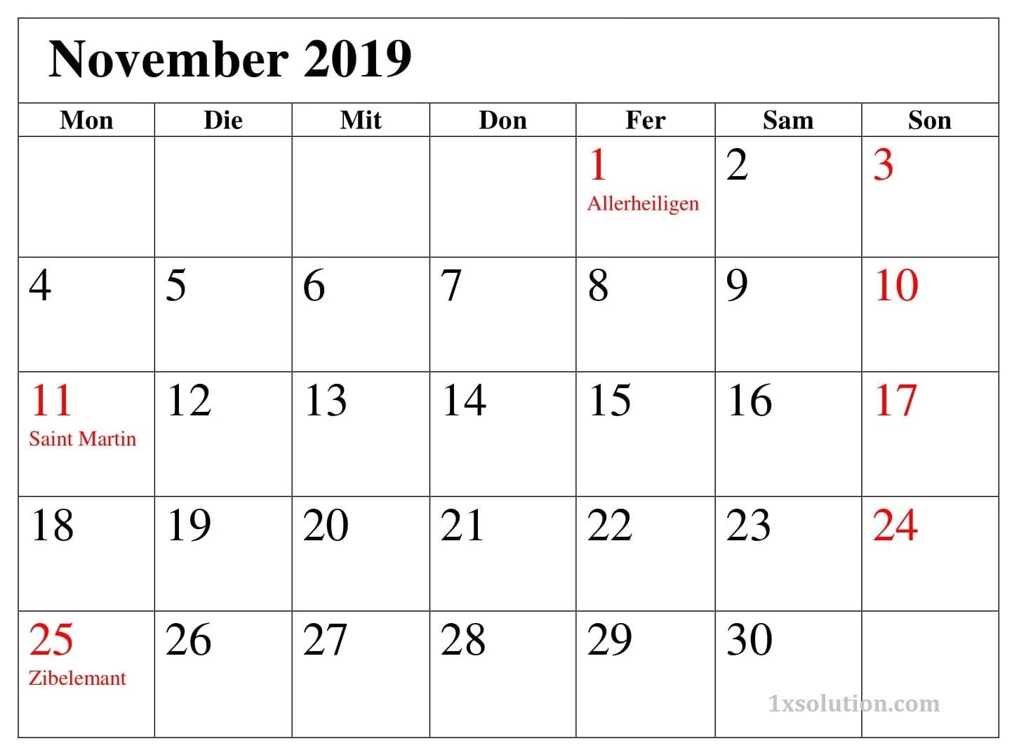 Kalender Blatt November 2019 Mit Feiertagen