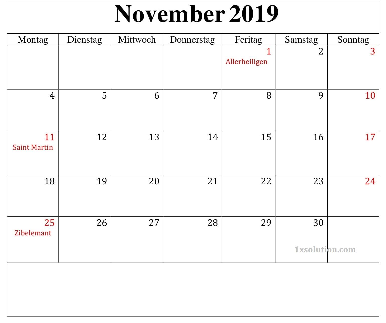 Kalender Montas November 2019 Mit Feiertagen