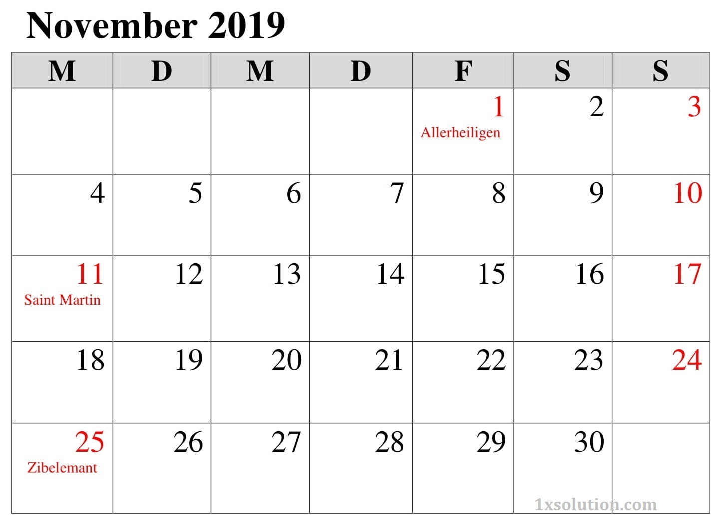 Kalender Notizen November 2019 Mit Feiertagen