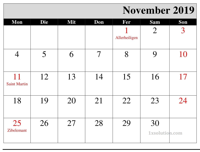 Kalender November 2019 Mit Feiertagen
