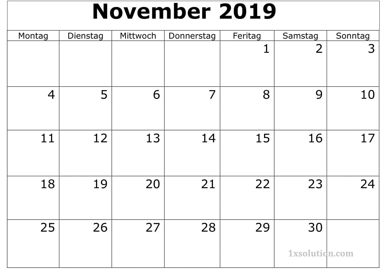 Kalender November 2019 Zum Ausdrucken Akademisch
