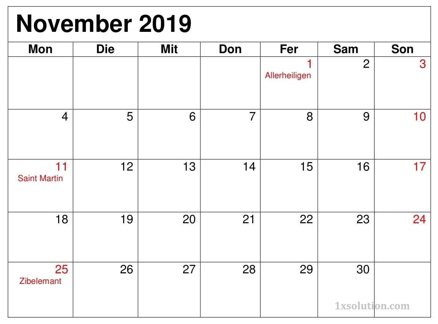 Kalender November 2019 Zum Ausdrucken Diagramm