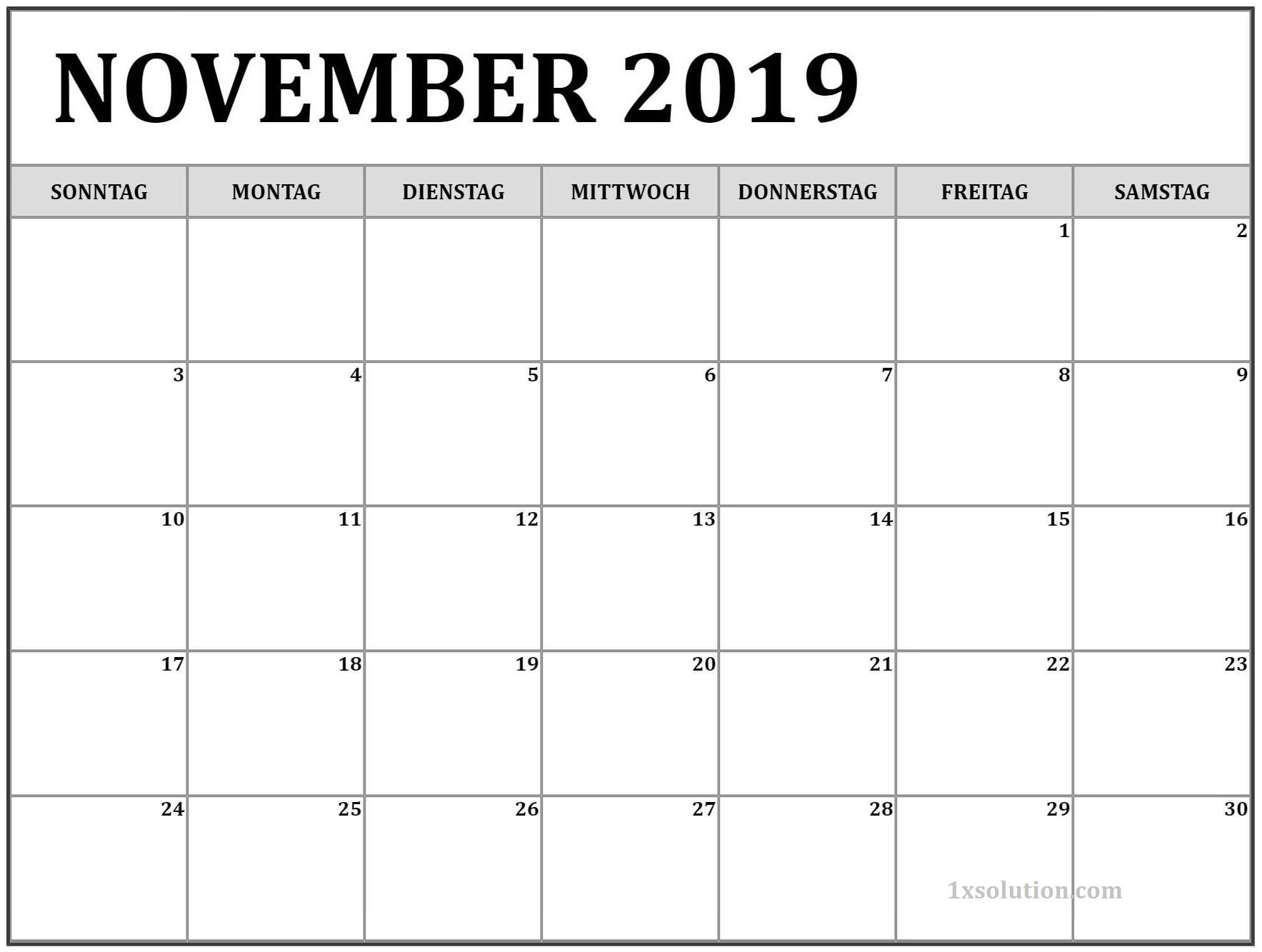 Kalender Novemer 2019 Zum Ausdrucken Frei