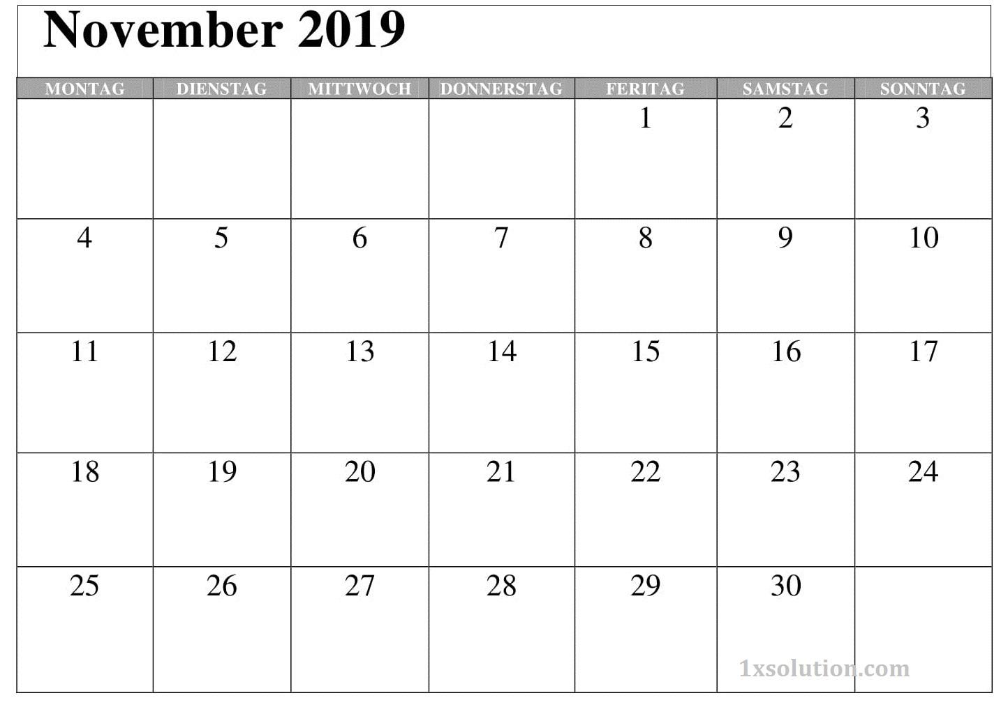 Kalender November 2019 Zum Ausdrucken Monatlich
