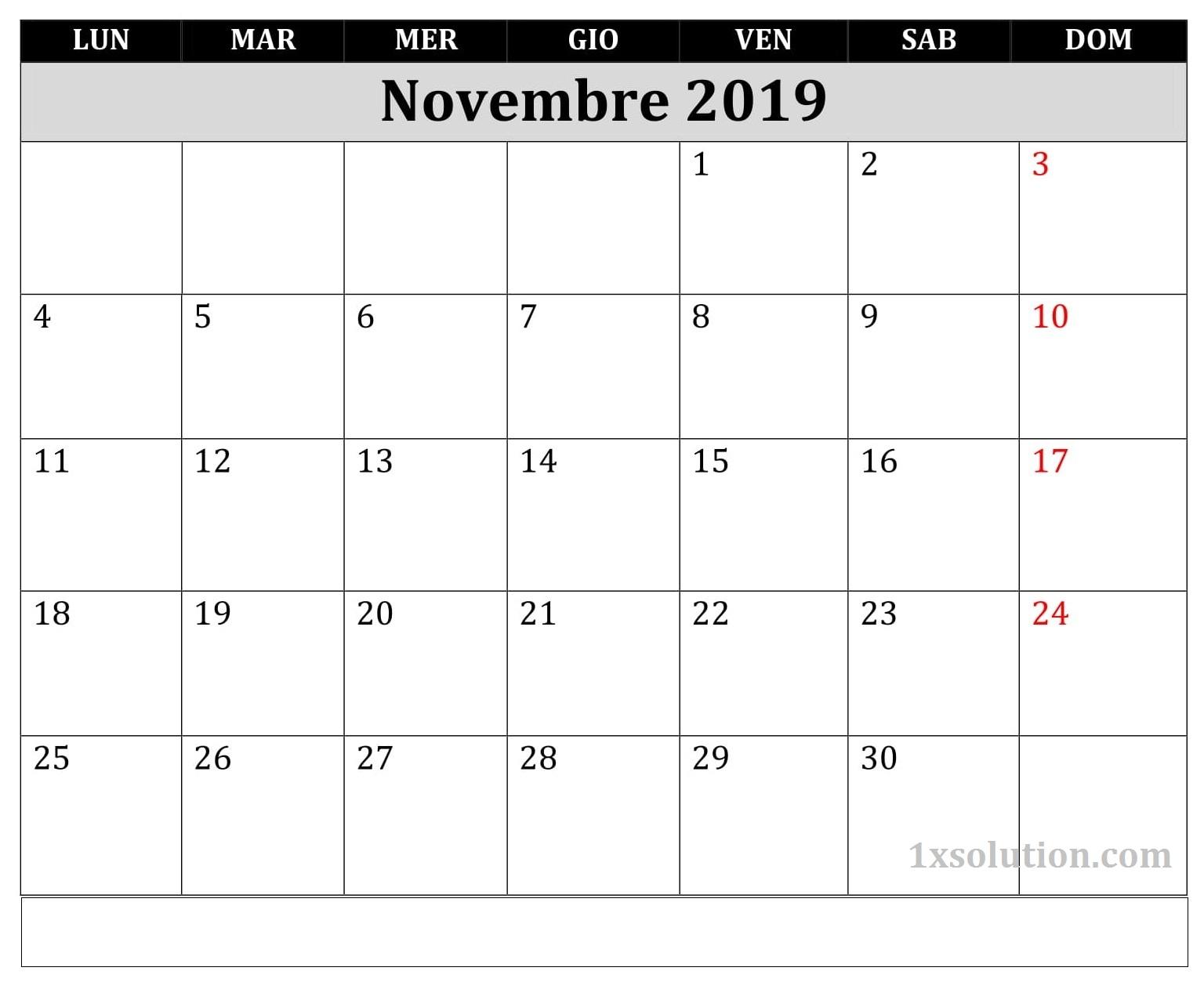 Modello Calendario Novembre 2019