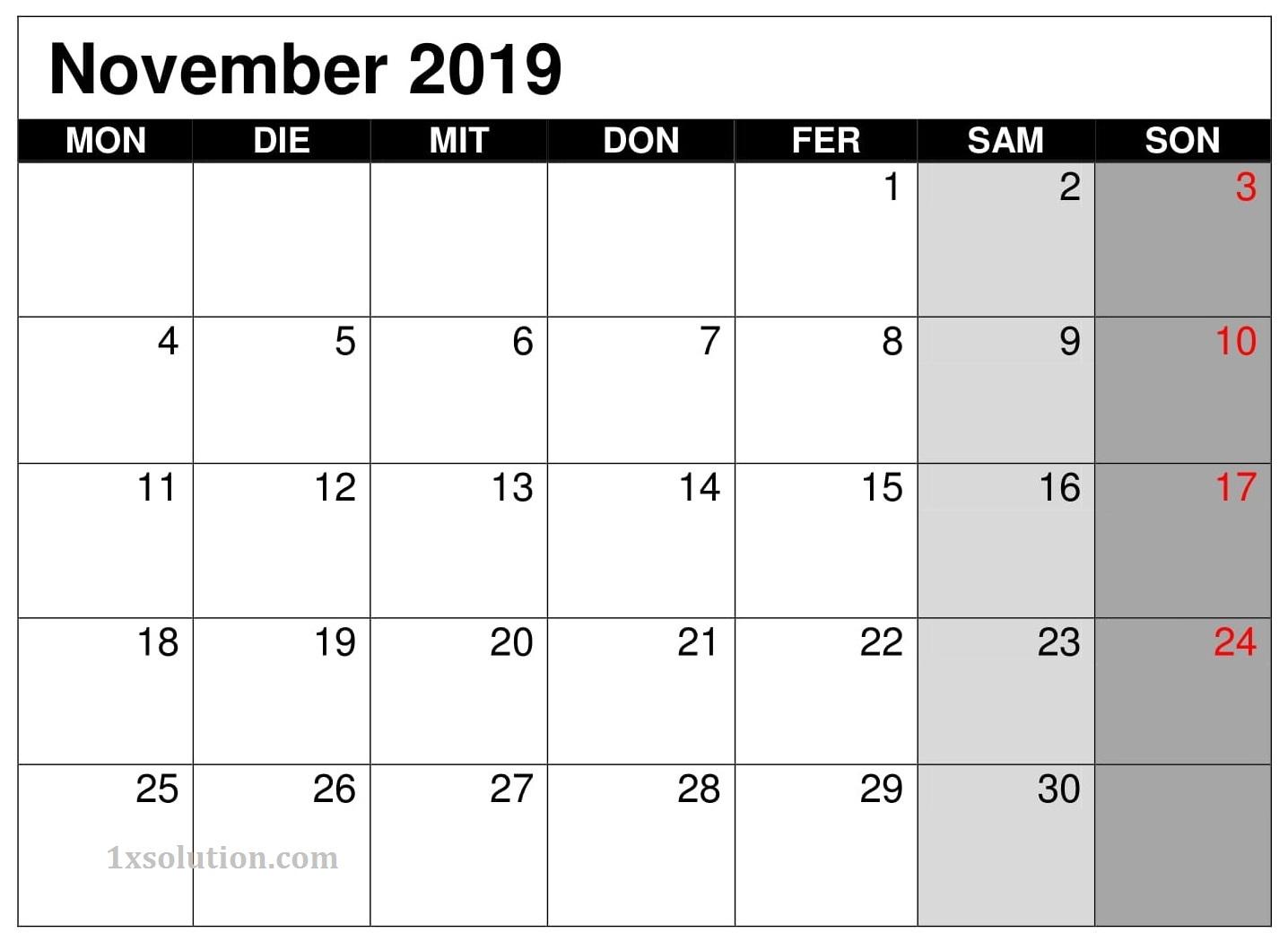 Notizen Kalender 2019 November