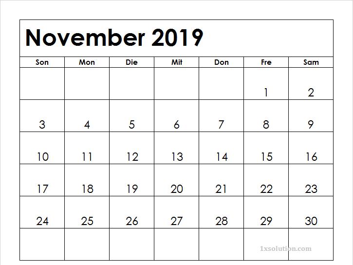 Kalender November 2019 Zum Ausdrucken