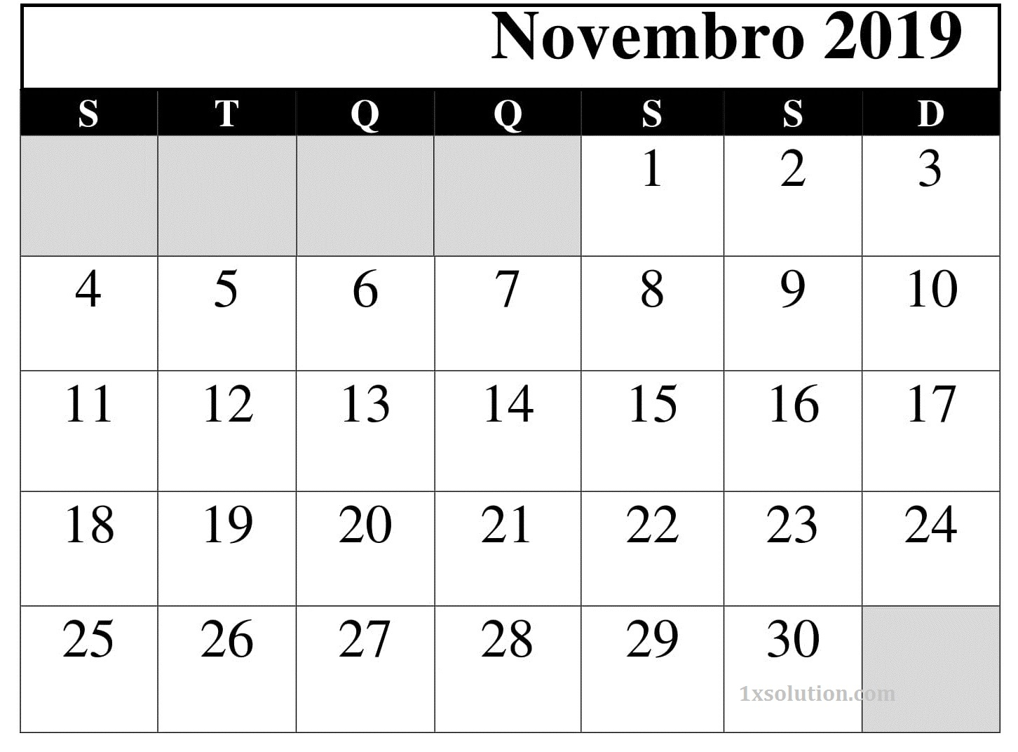 Vertical Calendário 2019 Novembro