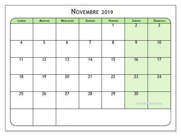 Vuoto Calendario Novembre 2019