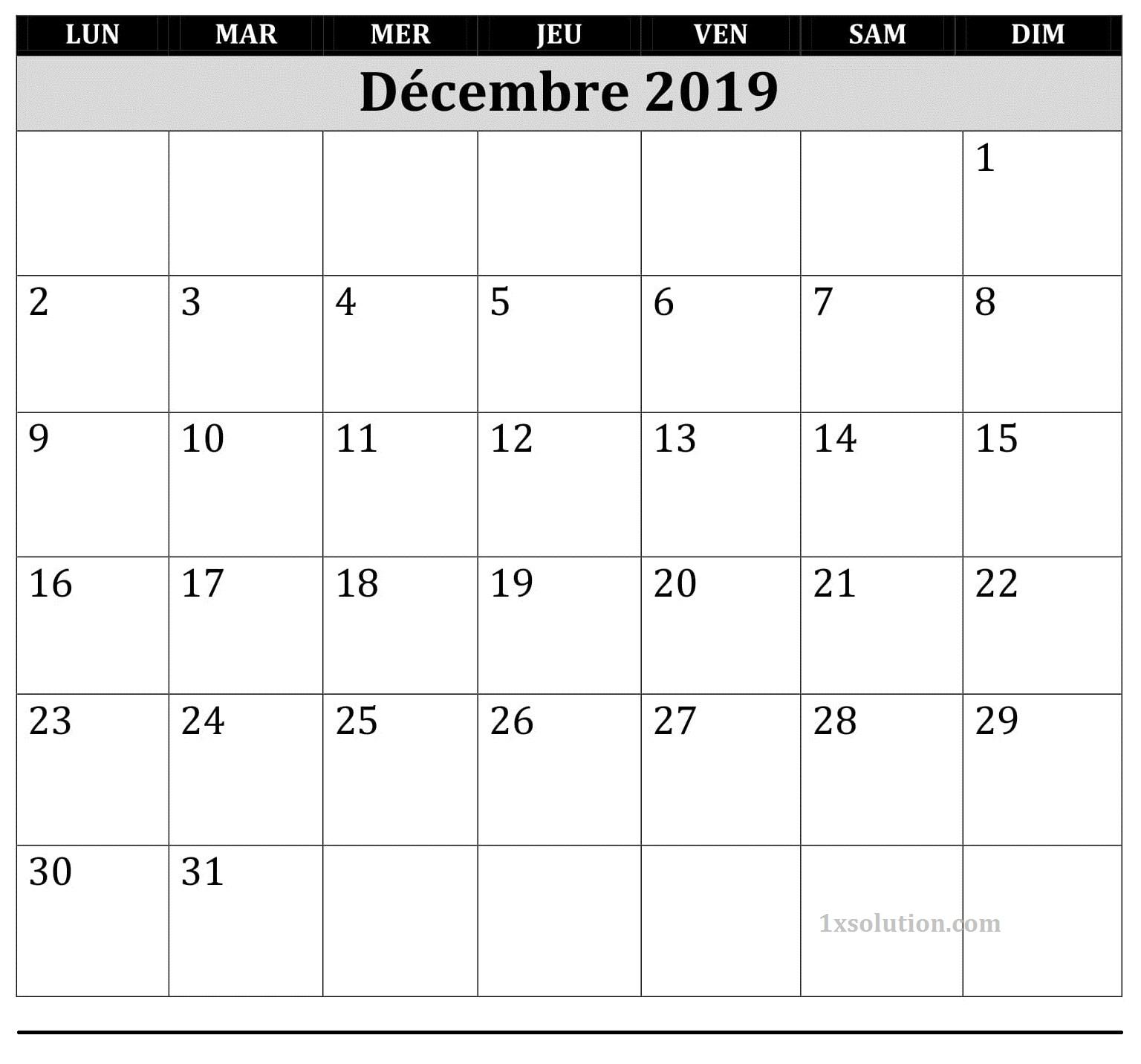 Word Calendrier 2019 Décembre