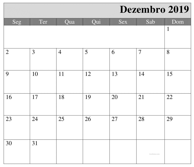 2019 Calendário Dezembro Para Imprimir
