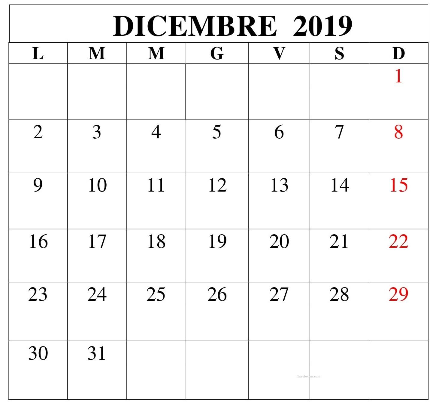 2019 Calendario Dicembre