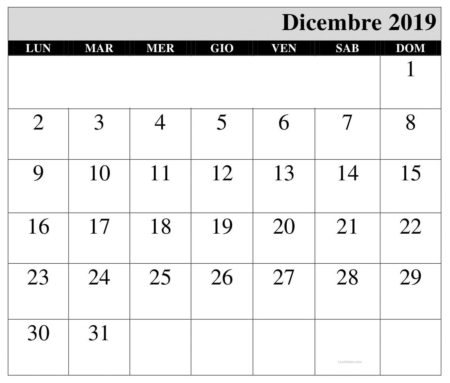 2019 Calendario Dicembre PDF