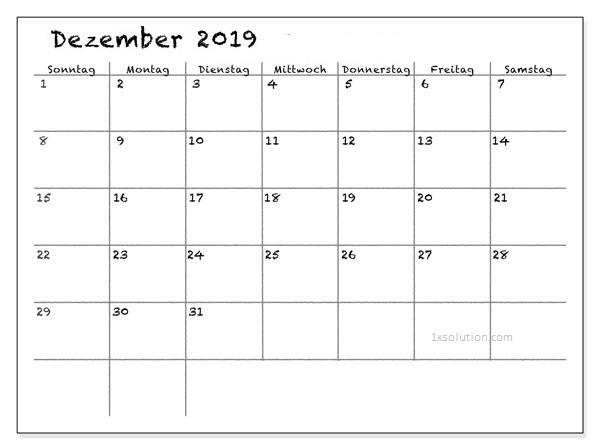 Anpassen Kalender Dezember 2019 Zum Ausdrucken