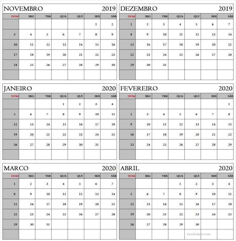 Calendário 2019 Dezembro Imprimir