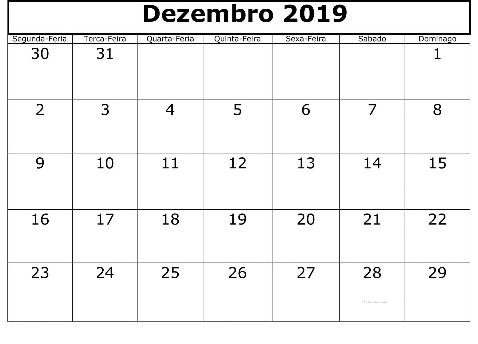 Calendário Dezembro 2019 Imprimir Documento
