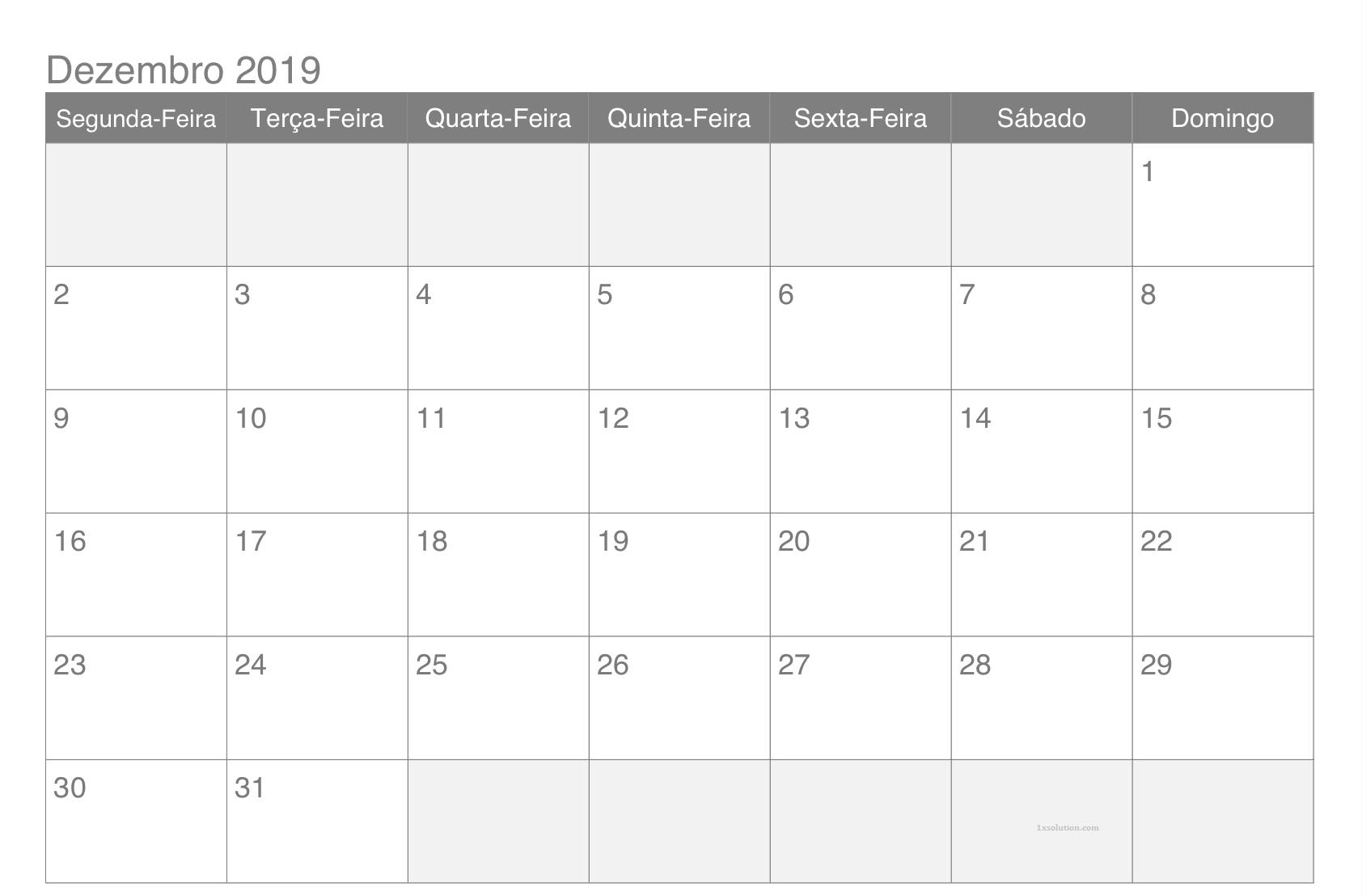 Calendário Dezembro 2019 Imprimir Feriados
