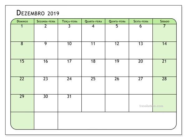 Calendário Dezembro 2019 Imprimir