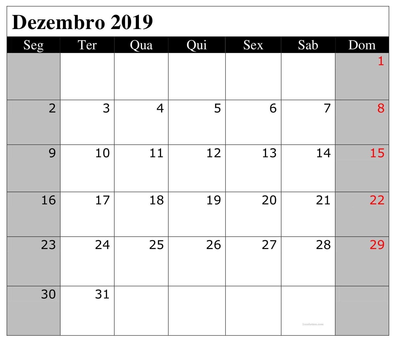 Calendário Dezembro 2019 Para Imprimir Editabel