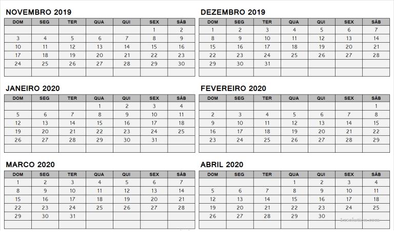 Calendário Dezembro 2019 Para Imprimir Mesa