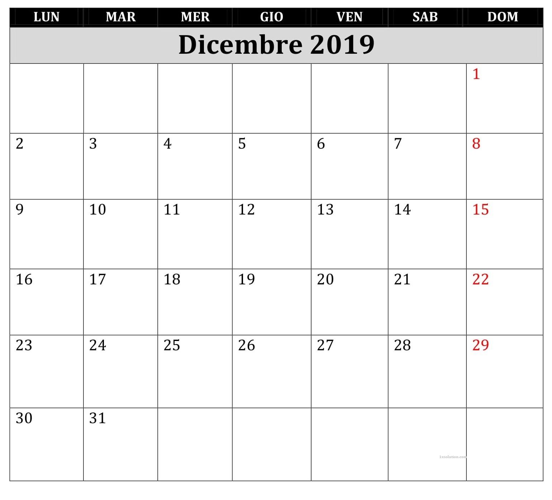 Calendario 2019 Dicembre