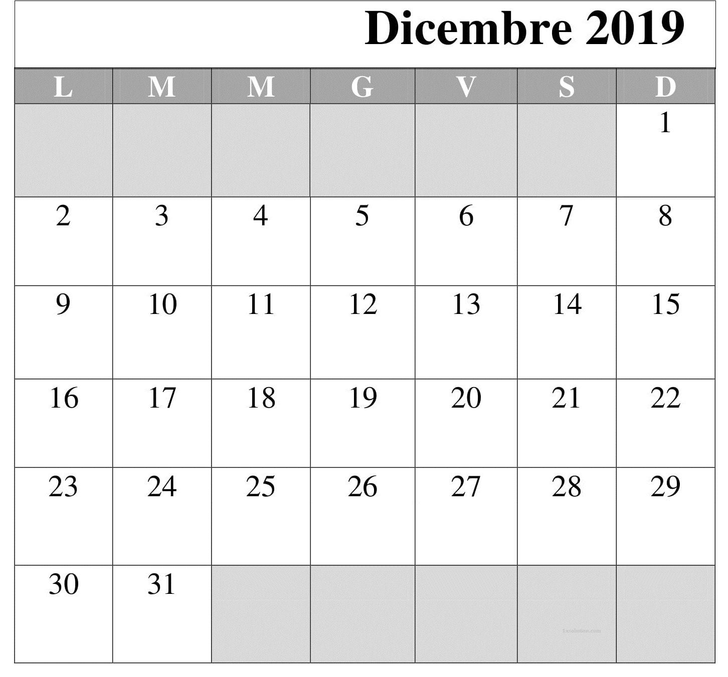 Calendario 2019 Dicembre Titolo