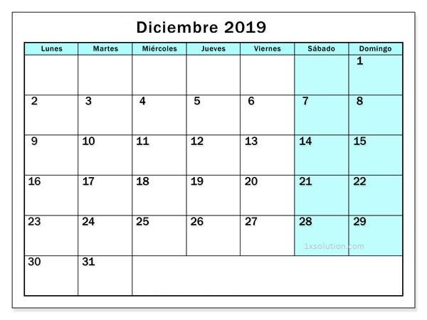 Calendario 2019 Diciembre Chile