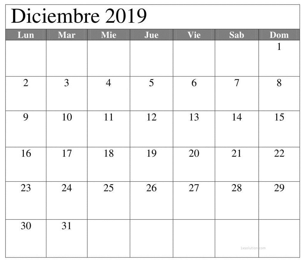 Calendario 2019 Diciembre Para Imprimir
