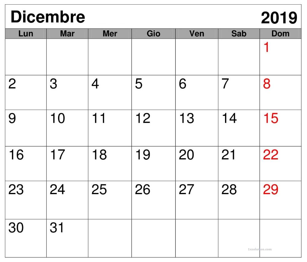 Calendario Dicembre 2019 Da Stampare Formato